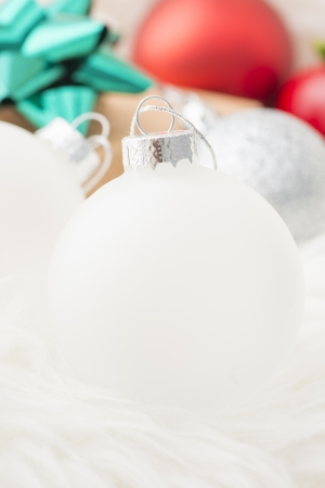 Holiday ornaments with christmas theme. Bauble, decoration and christmas gift Stock Photo