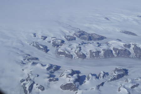 Aerial view of snowy territory