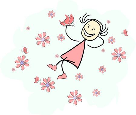 happy girl is lying in a flower field 写真素材