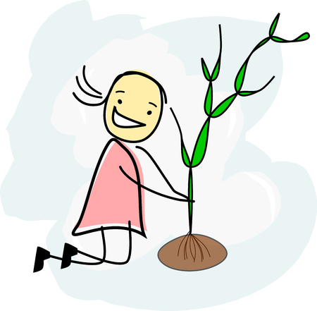 happy girl is planting a tree 版權商用圖片