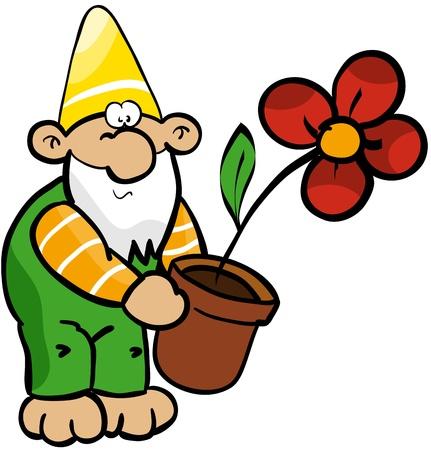 Garden gnome with flower pot Stock Vector - 14084577