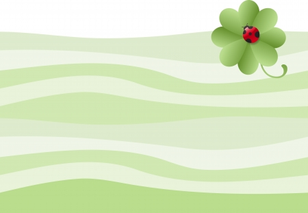 Four-leafed clover with ladybug background Vector