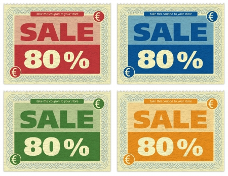 four different old sale coupons Stock Photo