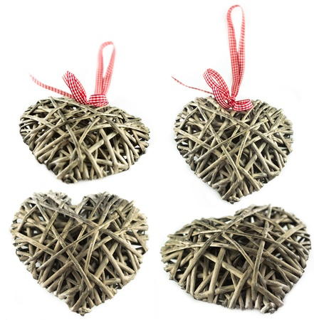 wooden heart with ribbon
