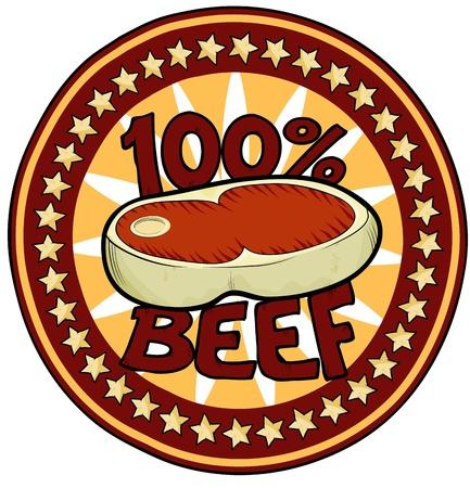 100  Beef Badge Illustration