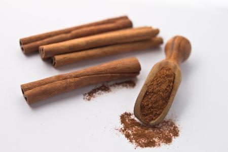 Cinnamon in small shovel Stock Photo