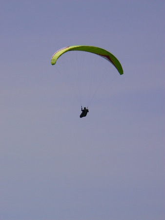 man flying: Paragliding - Parapente - Aile volante -  - A man flying Stock Photo