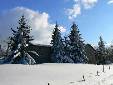 ski walking: Winter snow in the mountains Alps, France Stock Photo
