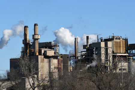 Industrial Factory with smoke stacks