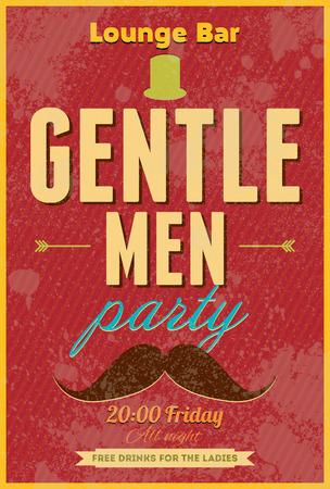 typography vector: Gentlemen Party. Typography vector poster. Illustration