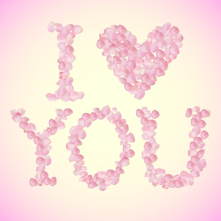 i love you sign: I Love You sign made of vector rose petals