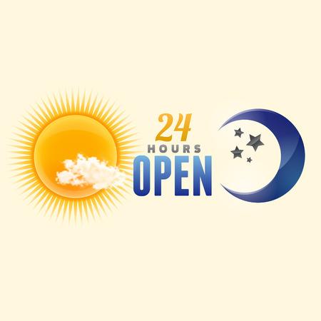sonne mond und sterne: 24 Stunden zu unterzeichnen. Sonne und Mond Vektor- Illustration