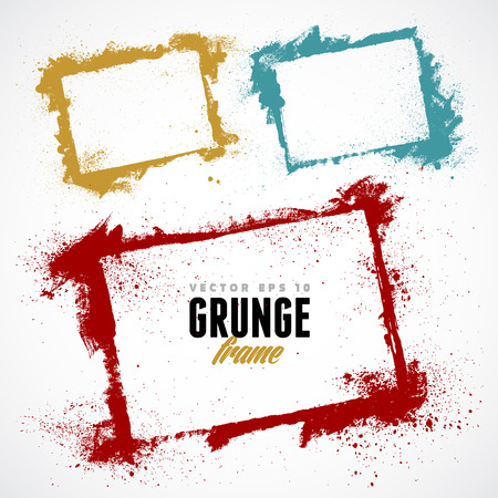 grunge border: Set of grunge vector frames. Grunge background. Watercolor background. Retro background. Vintage background. Design elements. Hand drawn. Texture background. Abstract shape. Vector pack