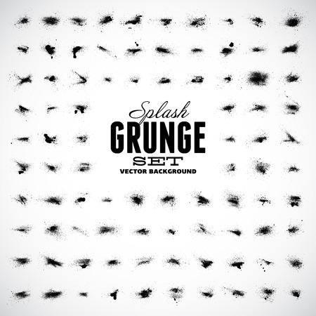 Set of grunge splashes. Grunge background. Grunge brushes. Retro background. Vintage background. Design elements. Grunge texture. Hand drawn. Texture background. Abstract shapes