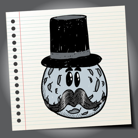 mustaches: Moon with mustaches and hat. Doodle style