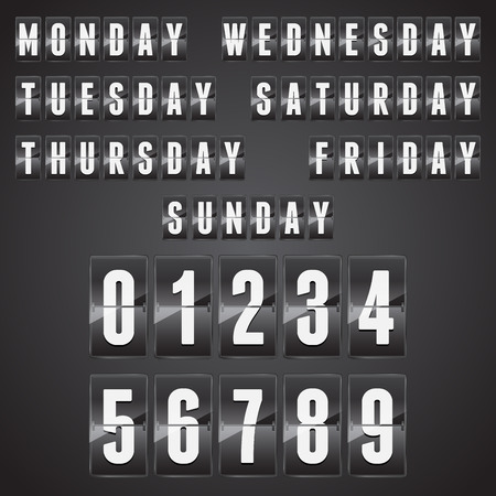 indicator panel: Set of days of the week with numbers on a mechanical timetable. Vector.