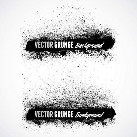 paint texture: Grunge banner backgrounds in black color Illustration