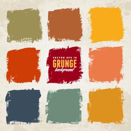 pincel: Cuadrados de colores de tinta Grunge dibujado mano- Vectores