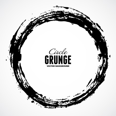 Vector ink grunge circle frame Çizim