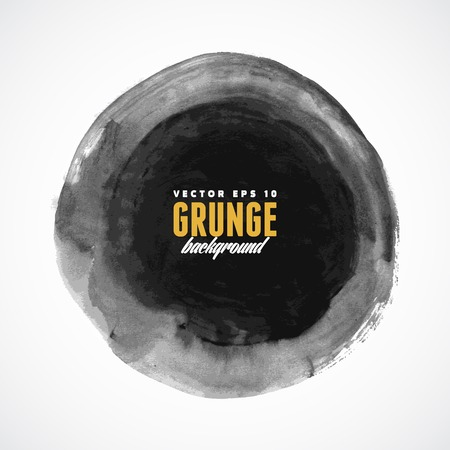 grunge shape: Brush stroke circle texture for buttons. Vector illustration. Illustration