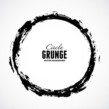 circle frame: Vector ink grunge circle frame Illustration