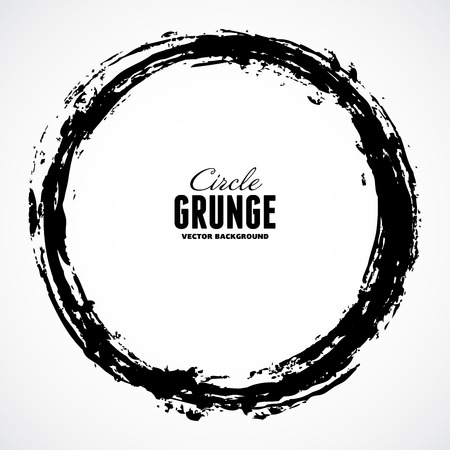black grunge background: Vector ink grunge circle frame Illustration