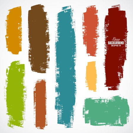 Vector set van grunge kleurrijke penseelstreken Stock Illustratie