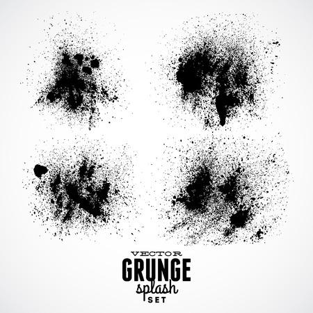 Ink Black Grunge Splat Set
