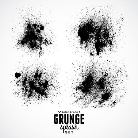 Ink Black Grunge Splat Set
