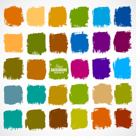 Abstract vector hand-painted square backgrounds Çizim