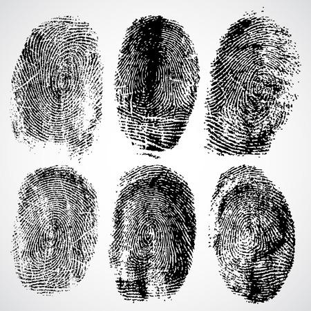 detective: Set of fingerprints, vector illustration