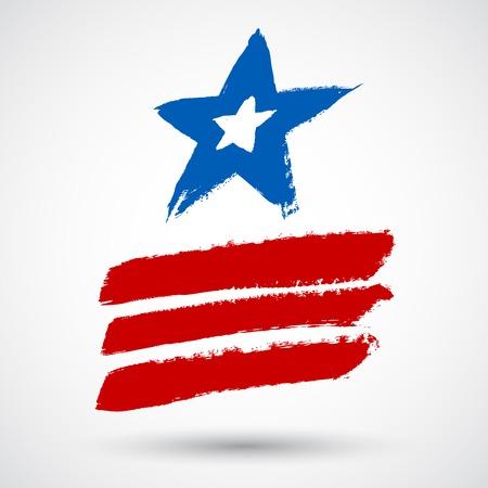 flagged: Vintage grunge star with stripes. Vector illustration
