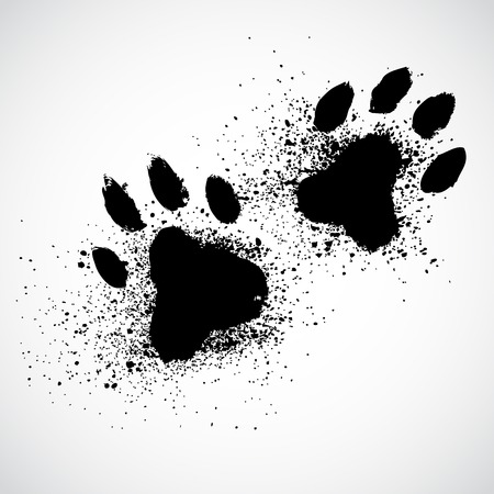 huellas de perro: Patas del perro Grunge Vectores
