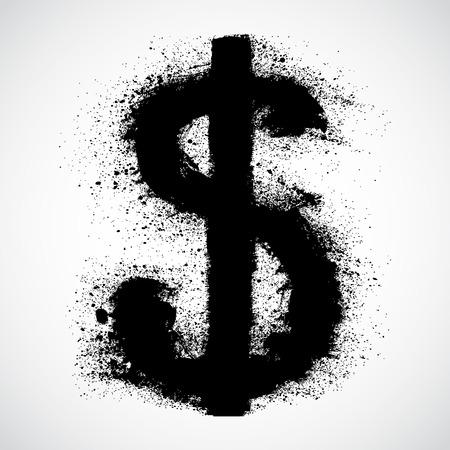 downfall: Grunge dollar sign Illustration