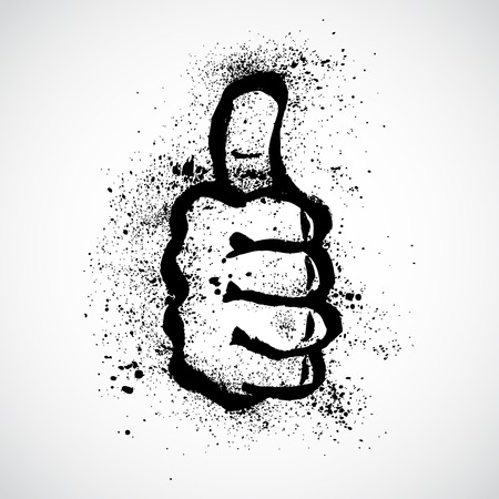 approvement: Grunge Thumb Up Gesture (Expressing Satisfaction, Approvement, Success)