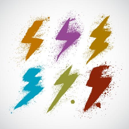 bolt: Lightning icon grunge set