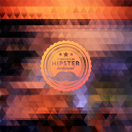 mustaches: Hipster background made of triangles. Retro label design. Square composition with geometric shapes, color flow effect. Hipster theme label. Mustaches Illustration