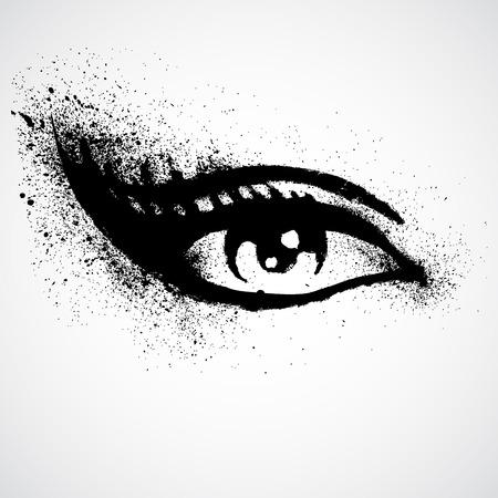 ojos negros: Ilustración del vector del grunge hermoso ojo femenino