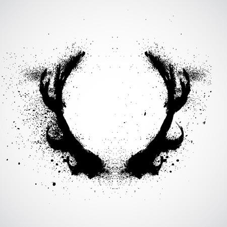 horns: Grunge deer horns Illustration