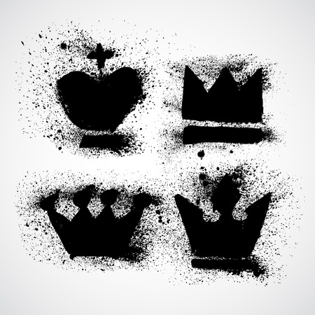 crown king: Grunge Royal crowns vector set with splashes