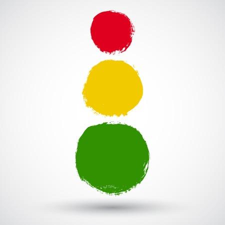 traffic light: Grunge traffic lights sign Illustration