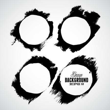 inkblot: Grunge Ink Draw Vector Circle Background