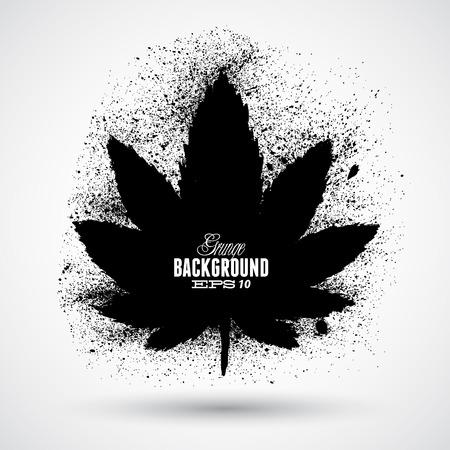 Grunge cannabis leaf silhouette vector