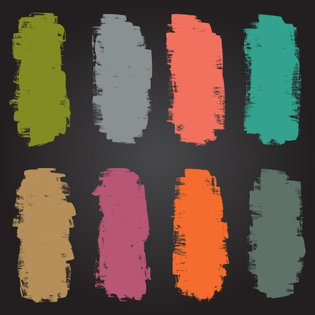 Vector set of grunge colorful brush strokes Vector