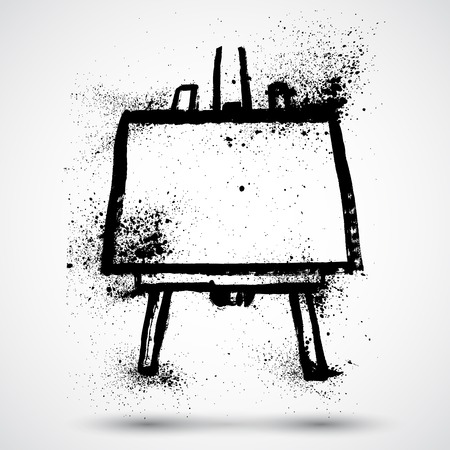 easel: Grunge Easel with white canvas Illustration