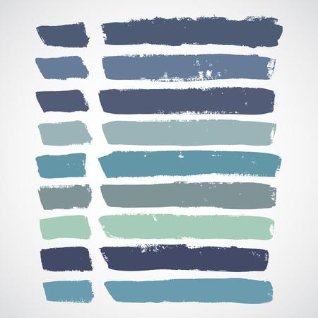 Vector set of grunge colorful brush strokes Vettoriali