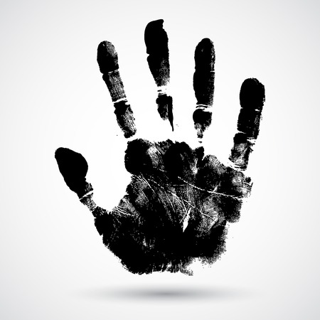 hands silhouette: Print of hand of child, cute skin texture pattern,vector grunge illustration Illustration