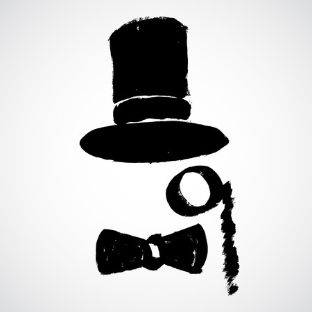 handlebar: Gentleman wearing bowler hat with a monocle and handlebar mustache