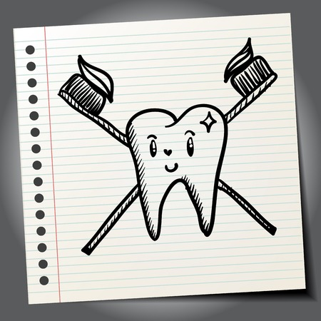 root canal: Doodle style dentist vector illustration with tooth and toothbrush