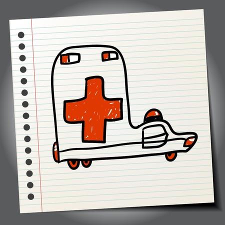ambulance car: Doodle ambulance car abstract Illustration